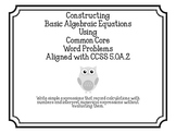 Constructing Basic Algebraic Equations CCSS 5.OA.2