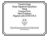 Constructing Basic Algebraic Equations CCSS 5.OA.2