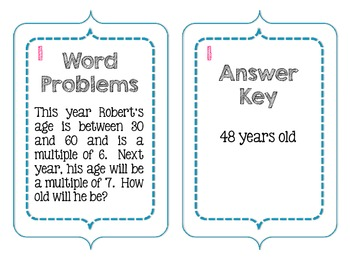 Common Core Word Problems FREEBIE