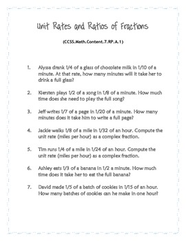 Common Core Word Problems Grade 7 - Ratios and Proportional Relationships
