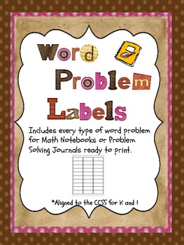 Word Problems for Math Notebooks or Journals - Ready to Print Labels