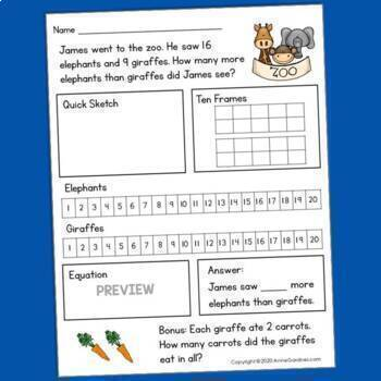 Addition & Subtraction Word Problems within Twenty {Ideal for Special Education}