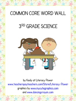 Common Core Word Wall: 3rd Grade Science
