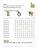 """Common Core - Words Ending with """" le""""  DOUBLE Word Search Fun!"""