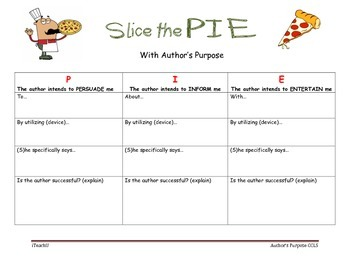 Common Core Worksheet for Author's Purpose 3-8
