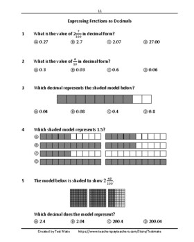 Common Core Worksheets: Decimals, Grade 4