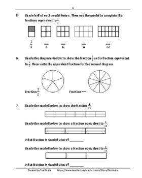 Common Core Worksheets: Fractions, Grade 4