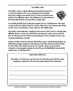 Common Core Worksheets: Reading Informational Texts Daily Test Prep Grade 4