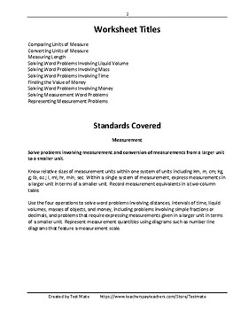 Common Core Worksheets: Solving Measurement Problems, Grade 4