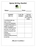 Common Core Writer's Workshop Checklist OPINION Writing Second Grade