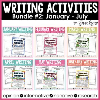 Common Core Writing Activities Bundle #2 January - July