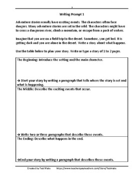 Common Core Writing: Adventure Story Writing Prompts