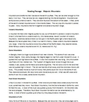 Common Core Writing Assessment Based on a Nonfiction Reading Passage
