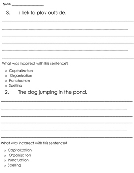 Common Core Writing - C.O.P.S - Grammar - Writing - Assessment