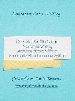 Common Core Writing Checklists 6th Grade Narrative, Expository, Argumentative
