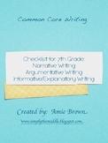 Common Core Writing Checklists 7th Grade Narrative, Expository, Argumentative
