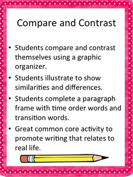 Common Core Writing Compare and Contrast: Friend and me!