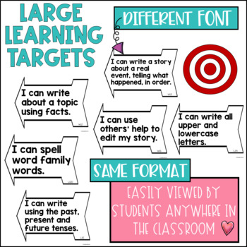 Common Core Writing Learning Targets 1st grade