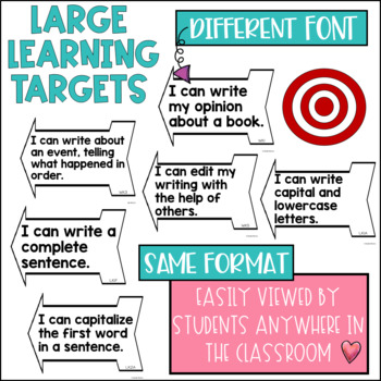 Common Core Writing Learning Targets Kindergarten