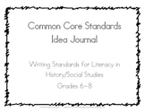 Common Core Writing Lesson Idea Journal, Social Studies History 6-8