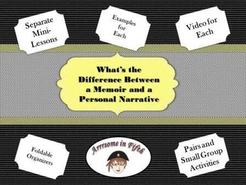 Common Core Writing Memoirs and Personal Narratives Lesson