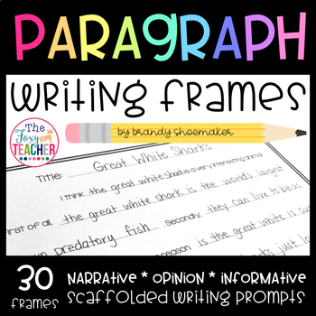 Common Core Writing Paragraph Frames for Elementary Writers