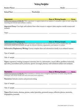 Writing Portfolio Criteria & Score Sheets Grades 6-12