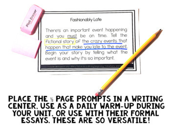 80 Writing Prompts Bundle of ALL Writing Types Grades 3, 4, 5 Common Core CCSS