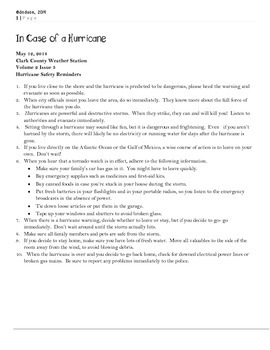 LEAP 2025 Test Prep Writing Prompt: Hurricanes by The ...