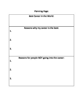 Common Core Writing Prompt with Graphic Organizer