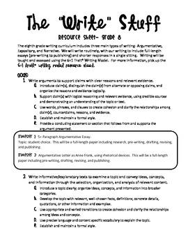 Common Core Writing Resource Grade 8