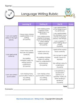 Common Core Writing Rubrics (K-1)