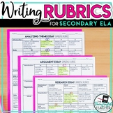 Writing Rubrics Packet for secondary English