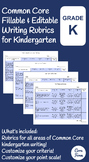 Common Core Writing Rubrics - Fillable & Editable - Kindergarten