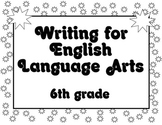 Common Core Writing Standards Posters 6th grade BLACK and WHITE