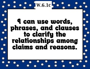 Common Core Writing Standards Posters 6th grade BLUE