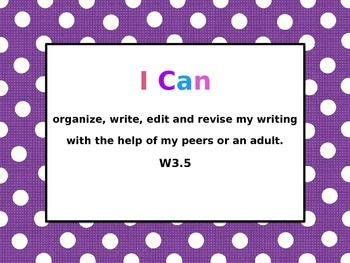 Common Core Writing Standards Purple Pok-A-Dot
