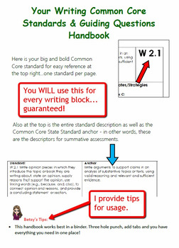 Common Core Writing Standards and Guiding Questions Handbook - 2nd Grade