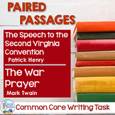 Common Core Writing Task: Speech to Second VA Convention & The War Prayer