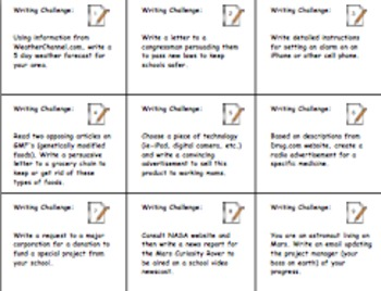 Common Core Writing Tasks in Science