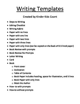 Common Core Writing Templates