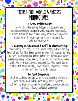 Free Common Core Writing Transitional Words Anchor Charts