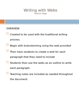 Common Core Writing with Webs