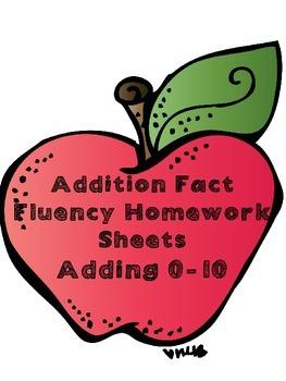 Common Core addition math fact fluency homework sheets