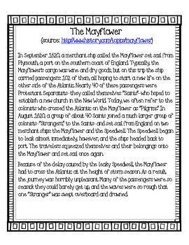 Common Core aligned Mayflower fact book with passage
