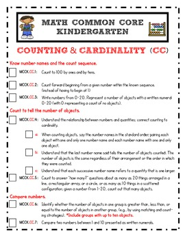 Common Core and Student Mastery Checklist for Kindergarten