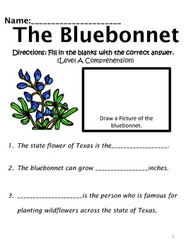Reading Comprehension:  The Bluebonnet