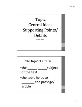 Common Core central idea and supporting details CLOZE NOTES