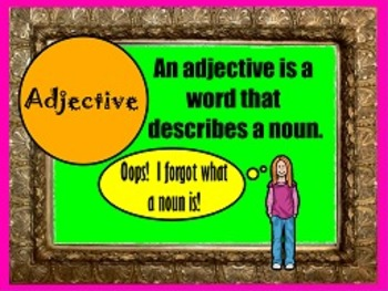 Adjectives L.1a FLIPCHARTS and worksheets!!