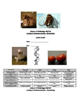 Common Core-friendly Biotechnology Scientific Literacy assignment